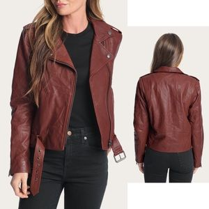 Frye Carly Leather Moto Jacket, Rosso (Wine)